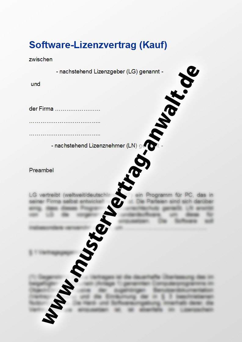 Softwarelizenzvertrag - Mustervertrag vom Anwalt