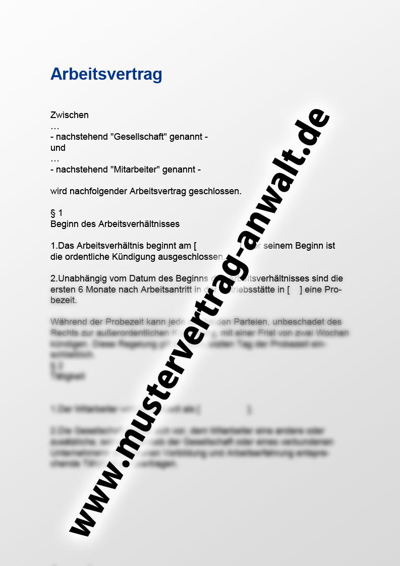 Arbeitsvertrag Vorschau Mustervertrag Vom Anwalt
