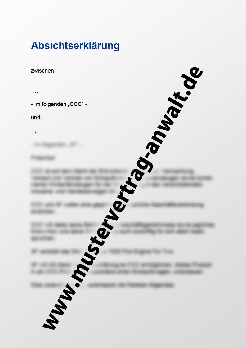 Absichtserklärung - Mustervertrag vom Anwalt